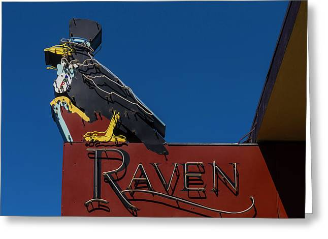 Raven Sign Greeting Card by Garry Gay