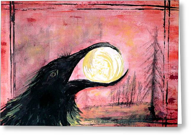 Greeting Card featuring the painting Raven Steals The Sun by 'REA' Gallery