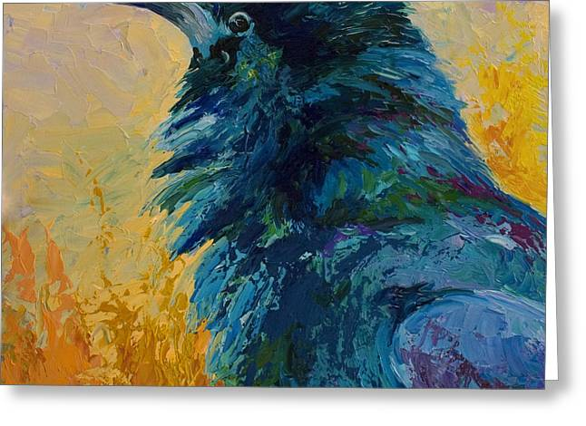 Raven Study Greeting Card by Marion Rose