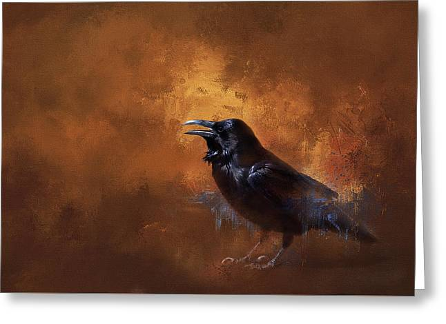 Raven Greeting Card by Theresa Tahara