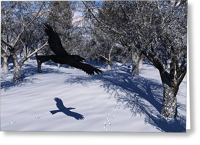 Raven Tracking Greeting Card by Diana Morningstar