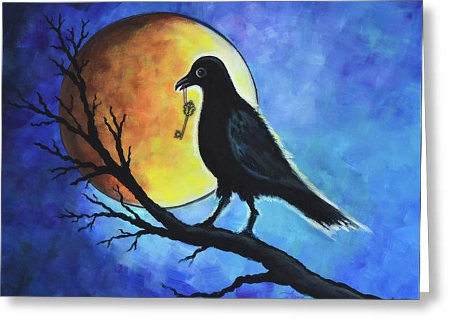 Raven With Key Greeting Card