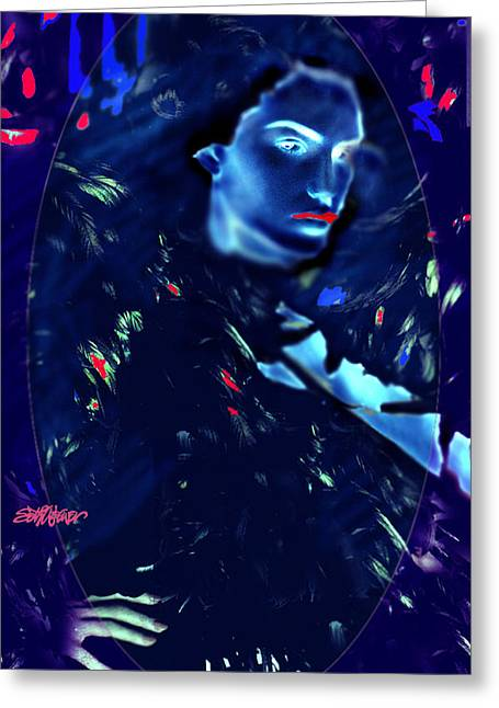 Greeting Card featuring the digital art Raven Woman by Seth Weaver