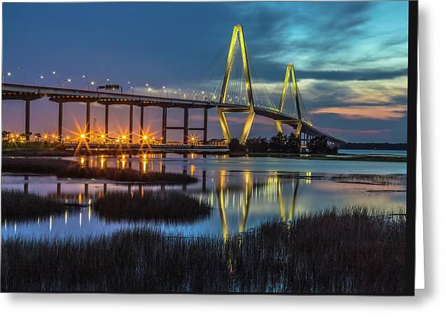 Ravenel Bridge Reflection Greeting Card