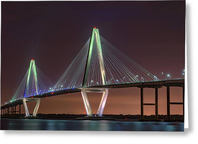 Ravenel Bridge Twilight Greeting Card by Rick Berk