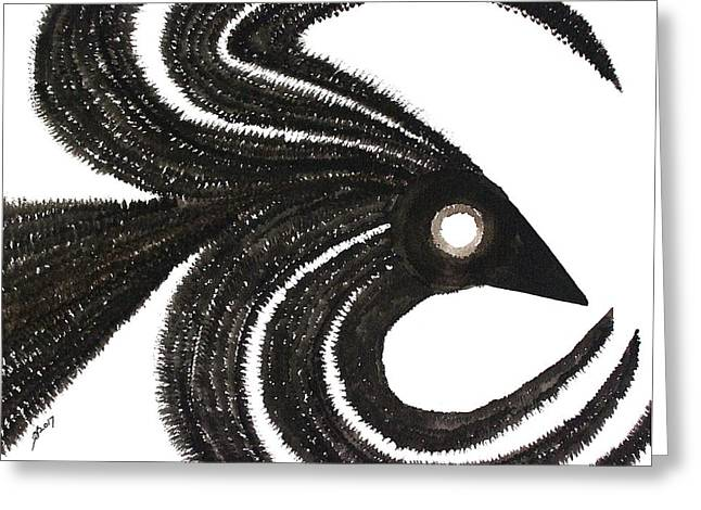 Ravenous Original Painting Greeting Card by Sol Luckman