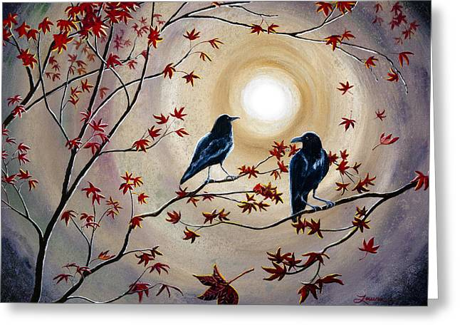 Ravens In Autumn Greeting Card by Laura Iverson