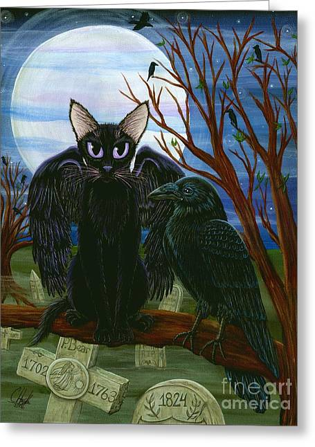 Raven's Moon Black Cat Crow Greeting Card by Carrie Hawks