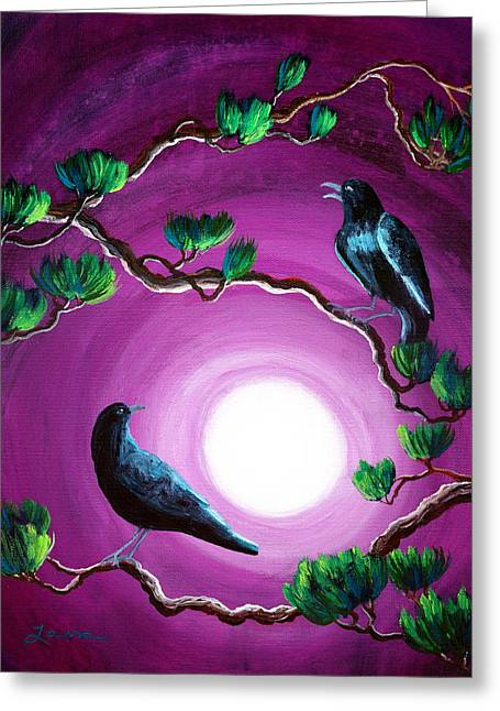 Ravens On A Summer Night Greeting Card by Laura Iverson
