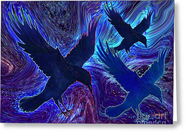 Greeting Card featuring the painting Ravens On Blue by Teresa Ascone