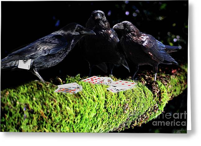 Playing Cards Mixed Media Greeting Cards - Ravens Playing Poker Greeting Card by Wingsdomain Art and Photography