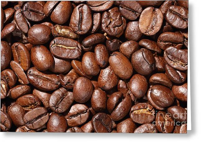 Raw Coffee Beans Background Greeting Card