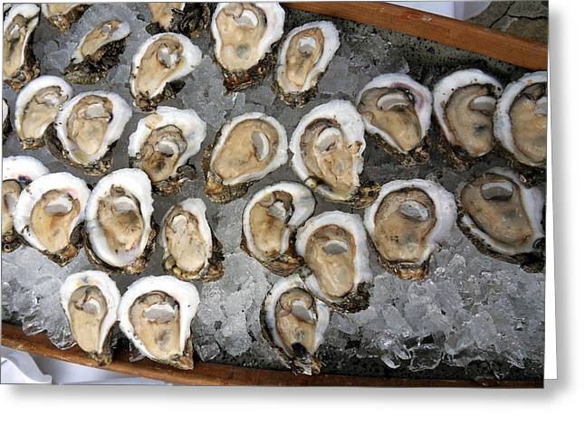 Food Safe Greeting Cards - Raw Oysters on Ice Greeting Card by Sean Gautreaux