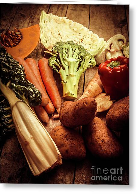 Raw Vegetables On Wooden Background Greeting Card