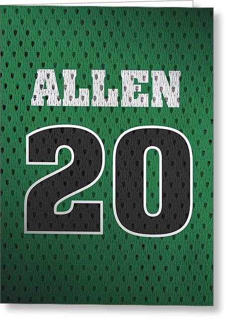 Ray Allen Boston Celtics Retro Vintage Jersey Closeup Graphic Design Greeting Card