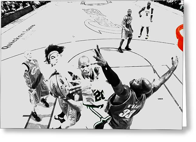 Ray Allen In Traffic Greeting Card by Brian Reaves