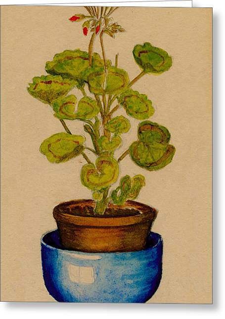 Greeting Card featuring the painting Ray-bet Geranium by Betty Hammant