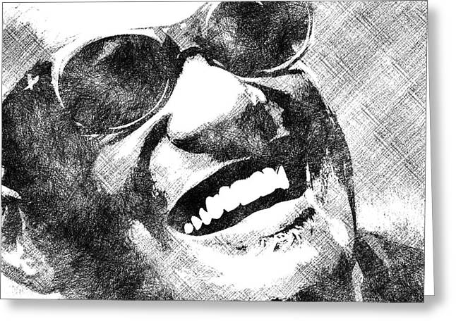 Ray Charles Bw Portrait Greeting Card by Mihaela Pater