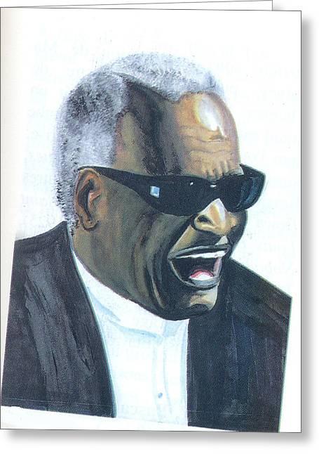 Greeting Card featuring the painting Ray Charles by Emmanuel Baliyanga