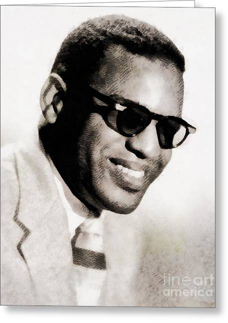 Ray Charles, Music Legend Greeting Card by John Springfield