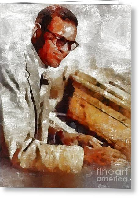 Ray Charles, Music Legend Greeting Card by Mary Bassett