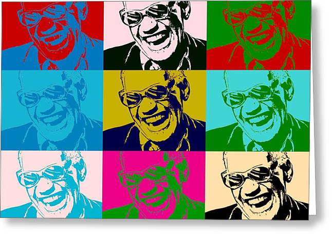 Ray Charles Pop Art Poster Greeting Card by Dan Sproul