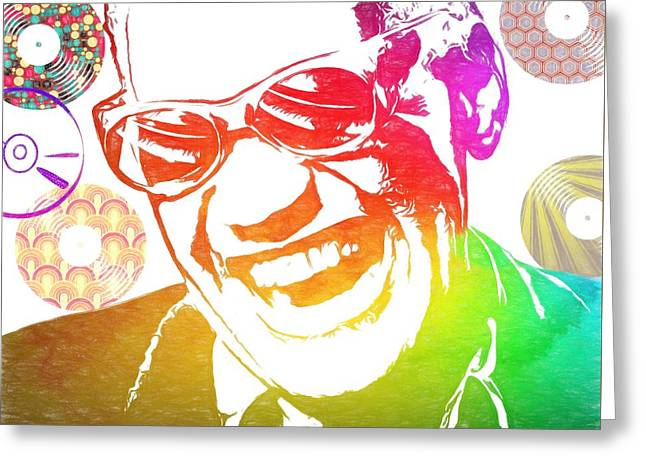 Ray Charles Retro Tribute Greeting Card by Dan Sproul