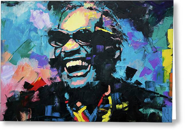 Greeting Card featuring the painting Ray Charles by Richard Day