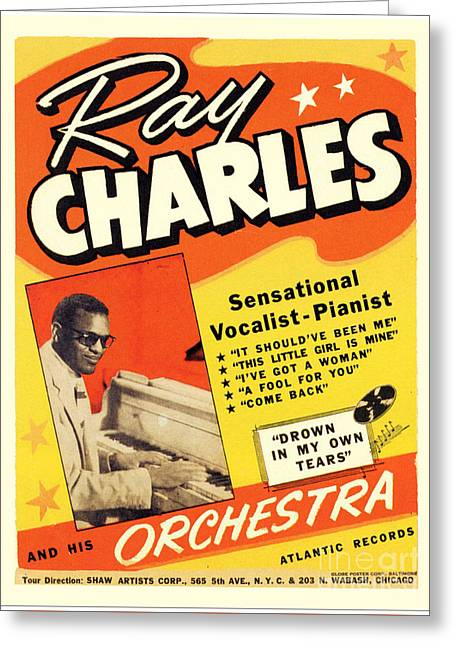 Ray Charles Rock N Roll Concert Poster 1950s Greeting Card