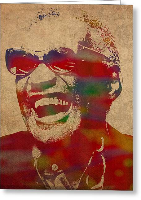 Ray Charles Watercolor Portrait On Worn Distressed Canvas Greeting Card by Design Turnpike