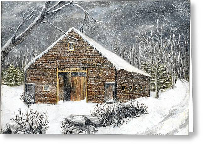 Winterland Scape Greeting Cards - Ray Emersons Old Barn Greeting Card by Jack Skinner