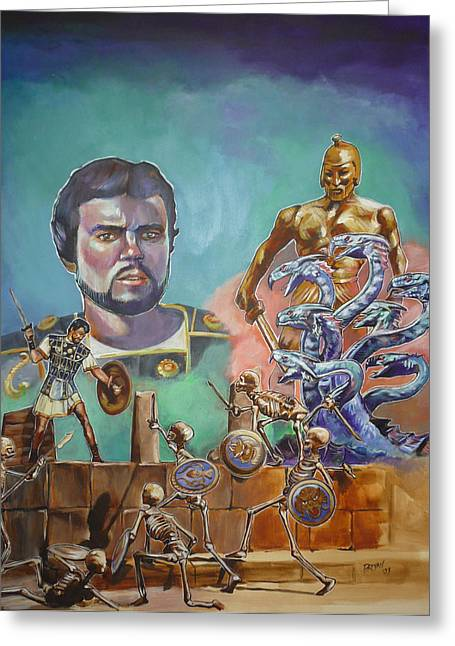 Greeting Card featuring the painting Ray Harryhausen Tribute Jason And The Argonauts by Bryan Bustard