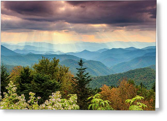 Rays At Caney Fork Greeting Card