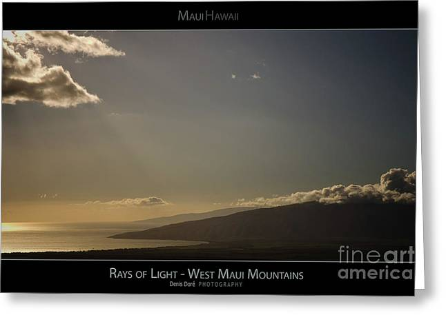 Rays Of Light On The West Maui Mountains - Maui Hawaii Posters Series Greeting Card by Denis Dore