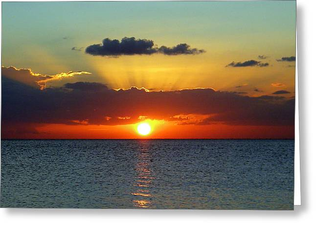 Rays Of Sunset Greeting Card