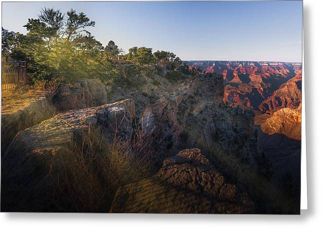 Rays Over The Canyon  Greeting Card