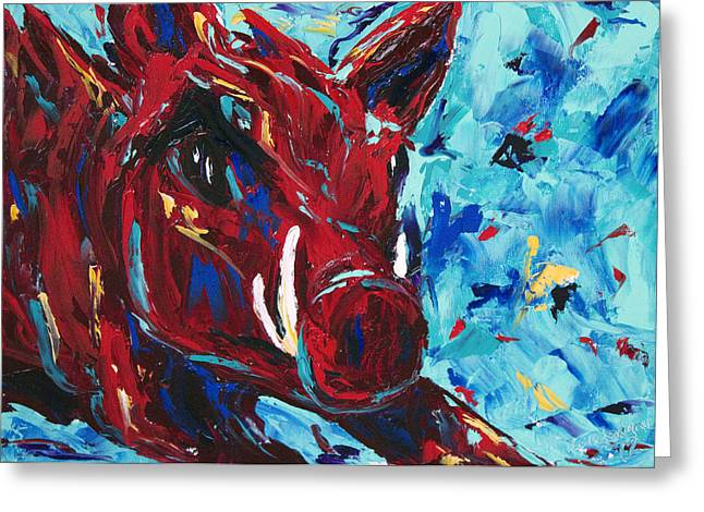 Razorback Greeting Card by Beth Lenderman