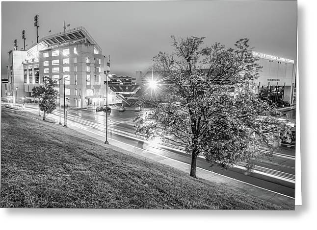 Razorback Stadium In Black And White - Fayetteville Arkansas Greeting Card by Gregory Ballos