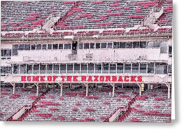 Razorback Stadium Greeting Card by JC Findley