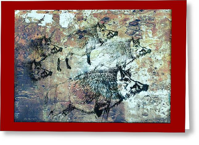Wild Boars Greeting Card by Larry Campbell