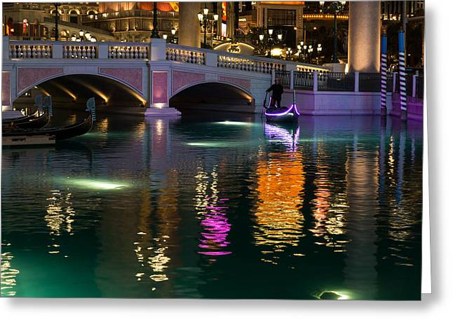 Razzle Dazzle - Colorful Neon Lights Up Canals And Gondolas At The Venetian Las Vegas Greeting Card by Georgia Mizuleva