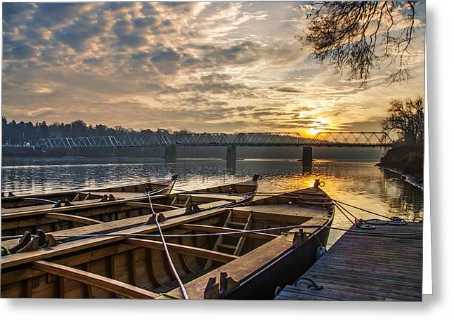 Re-enactment Boats At Washingtons Crossing At Sunrise Greeting Card by Bill Cannon
