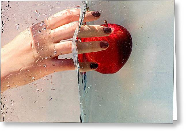 Reach For The Apple Greeting Card by Karen McKenzie McAdoo