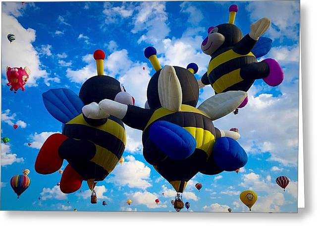 Hot Air Balloon Cheerleaders Greeting Card