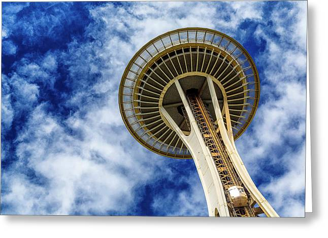 Reach For The Sky - Seattle Space Needle Greeting Card by Stephen Stookey