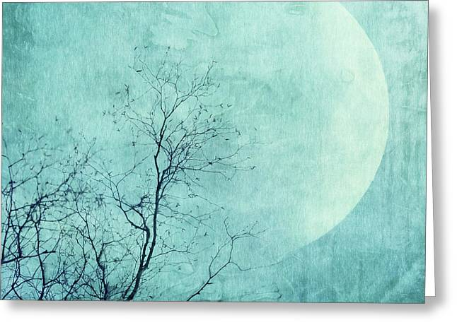 Reach For The Moon Greeting Card by Priska Wettstein