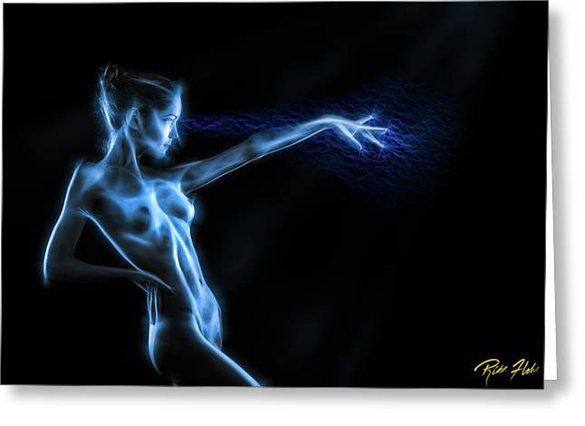 Greeting Card featuring the photograph Reaching Figure Darkness by Rikk Flohr