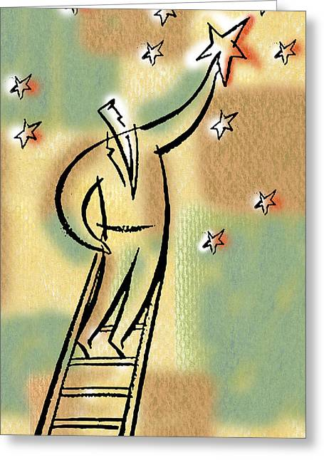 Greeting Card featuring the painting Reaching For The Star by Leon Zernitsky