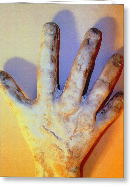 Hands Sculptures Greeting Cards - Reaching Out Greeting Card by Anita r Snyder