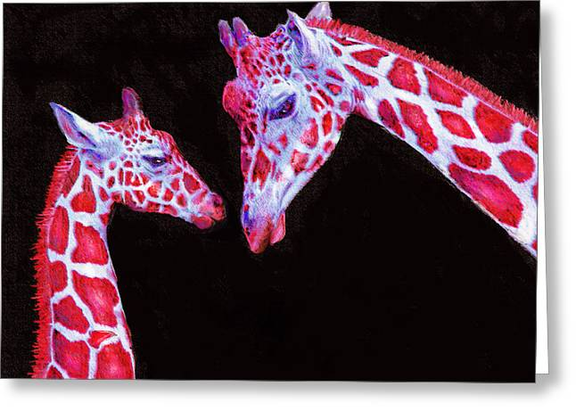 Read And Black Giraffes Greeting Card by Jane Schnetlage